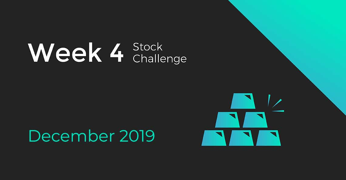 Cover for Week 4 of the December 2019 Stock Challenge