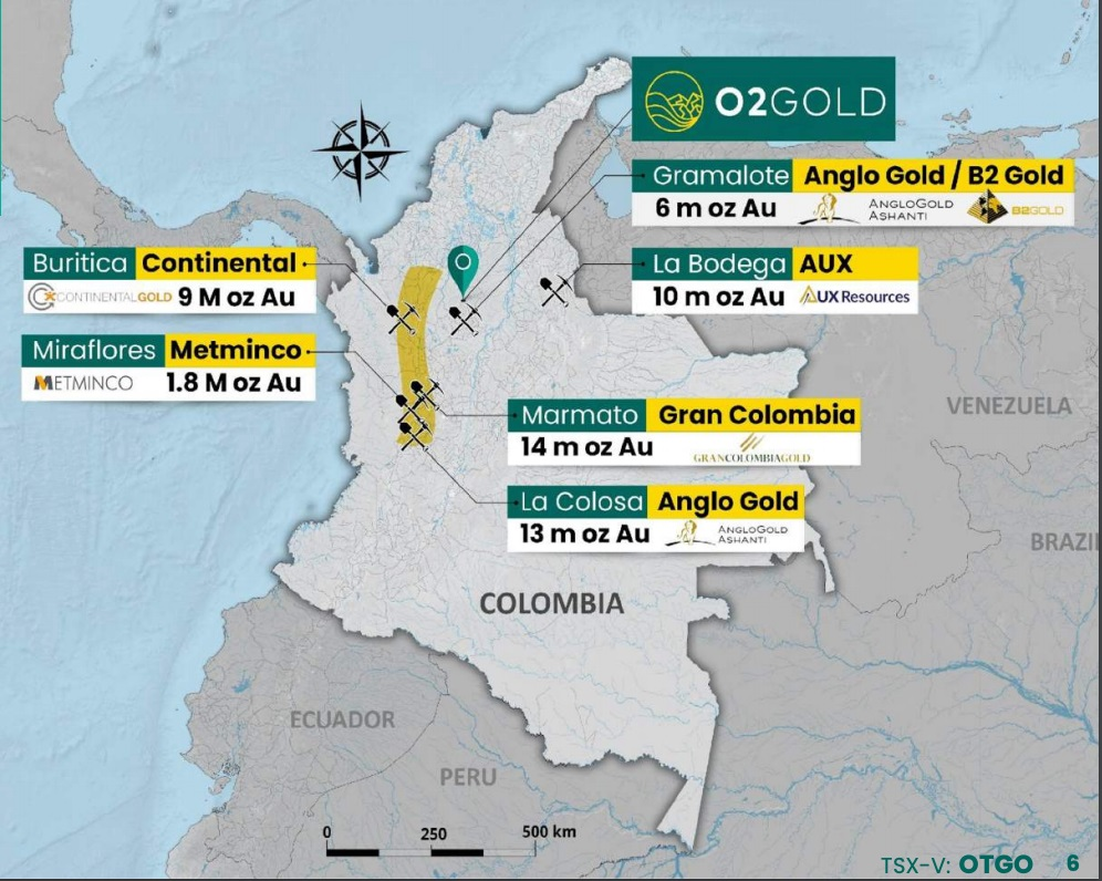 O2Gold proximity to top gold mines in Colombia