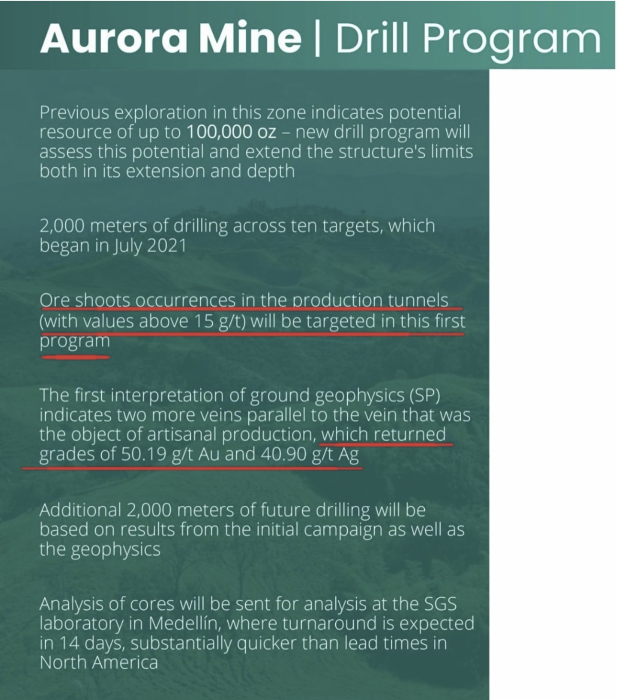 Aurora Mine Drill Program