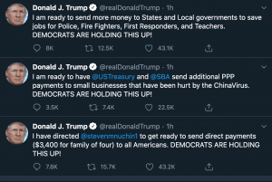 Trump tweets about more direct payments to Americans