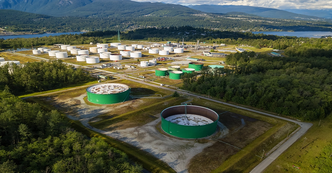 aerial of Canadian oil refinery in British Columbia