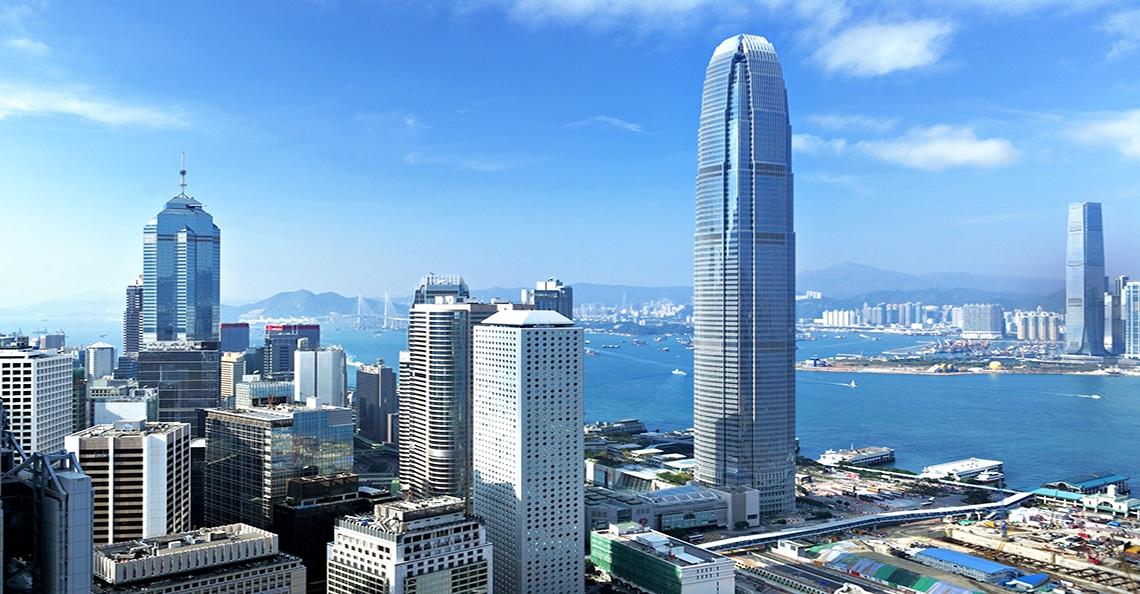 aerial view of downtown Hong Kong