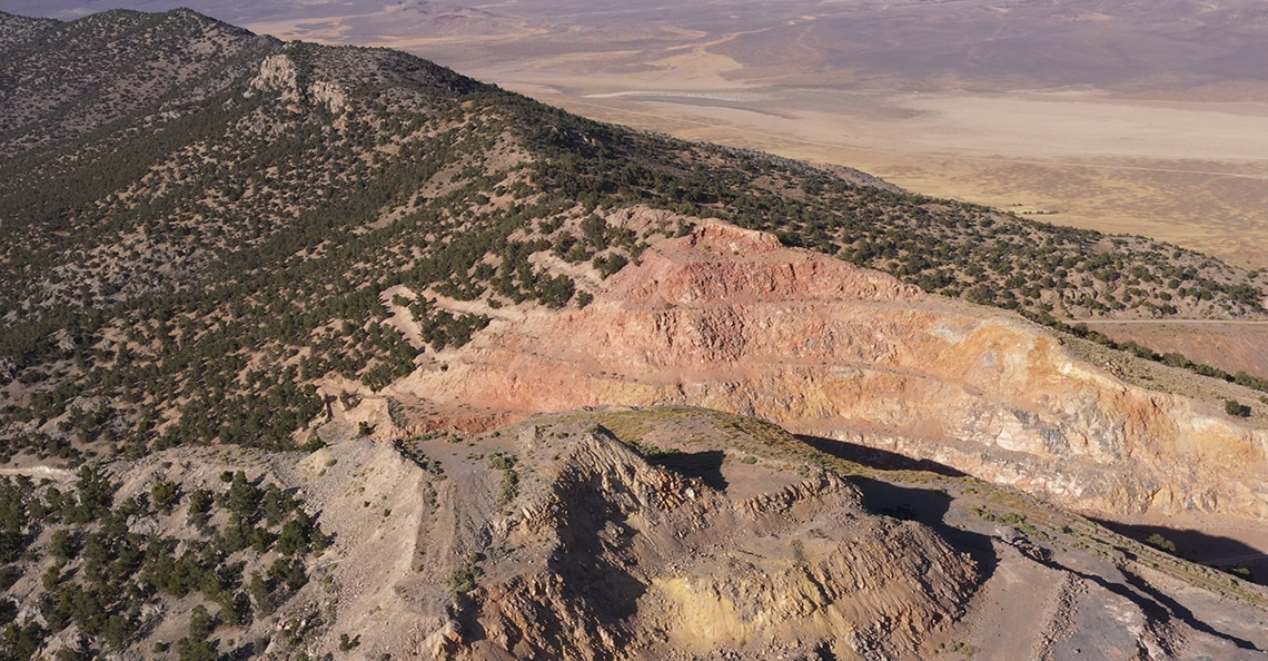 aerial view of kinsley mountain
