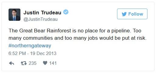 Trudeau tweet about Northern Gateway