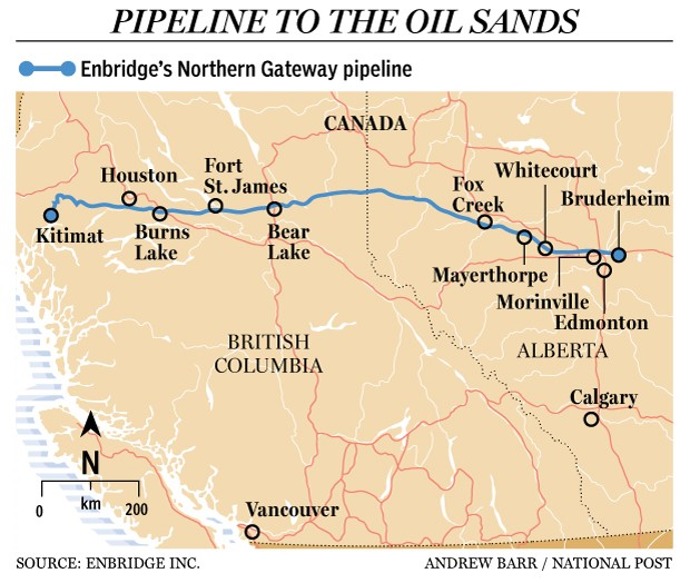 Northern Gateway pipeline route