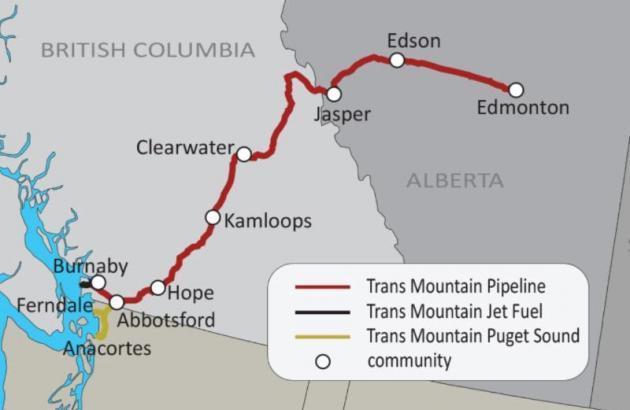 Kinder Morgan Pipeline route