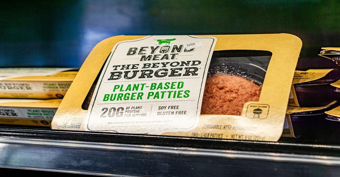 beyond meat packaging in store