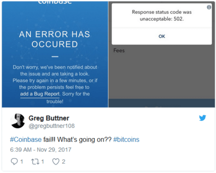 Twitter firestorm when Coinbased crashed