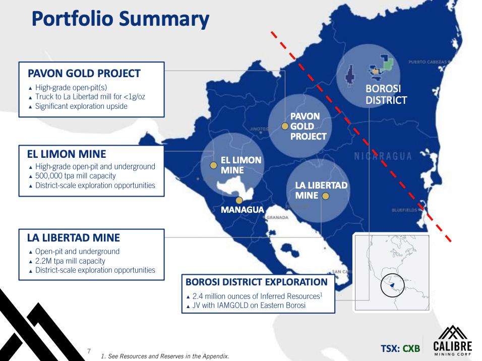 Slide 7 of Calibre Mining's Corporate Presentation