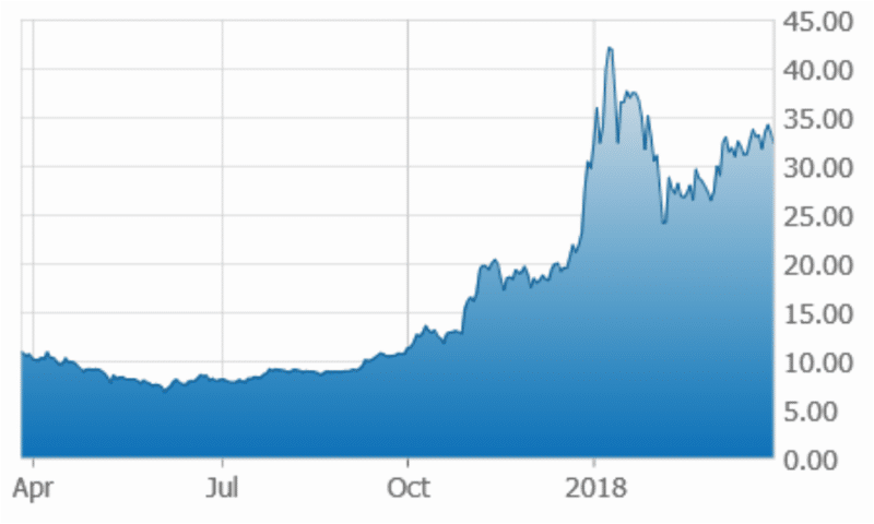 Canopy Growth 1-Year Stock Chart