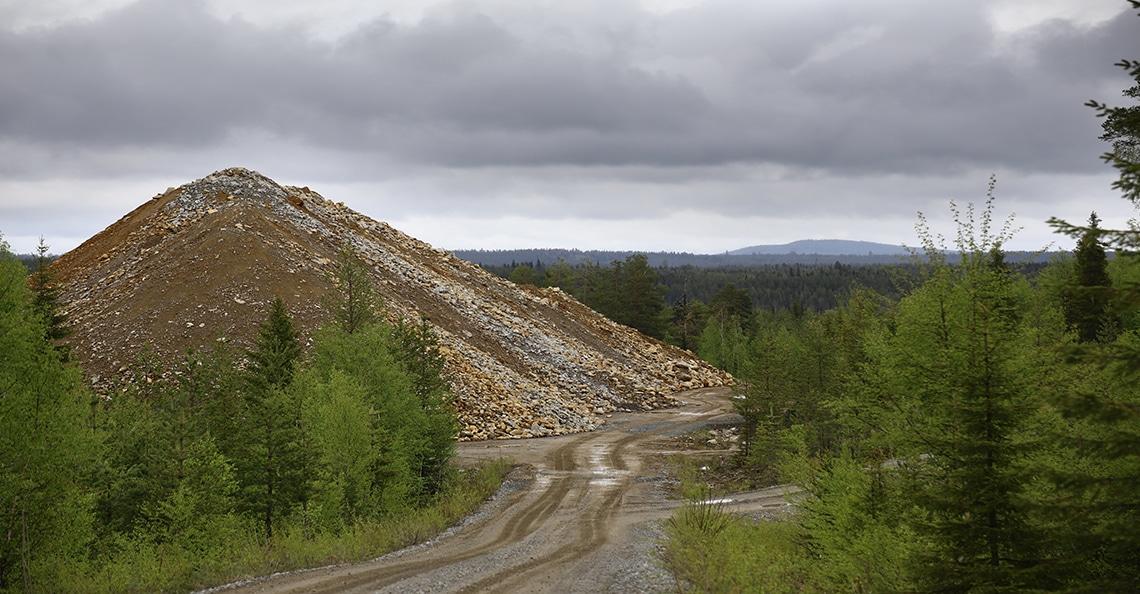 copper rubble heap in Sweden