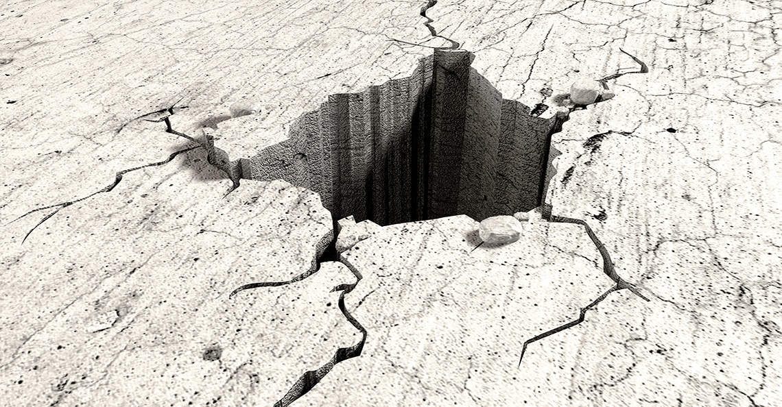 crater in the ground