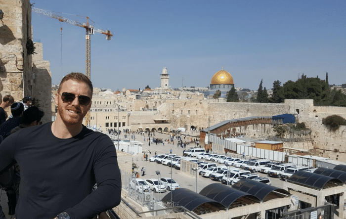 Aaron Hoddinott in Jerusalem this March
