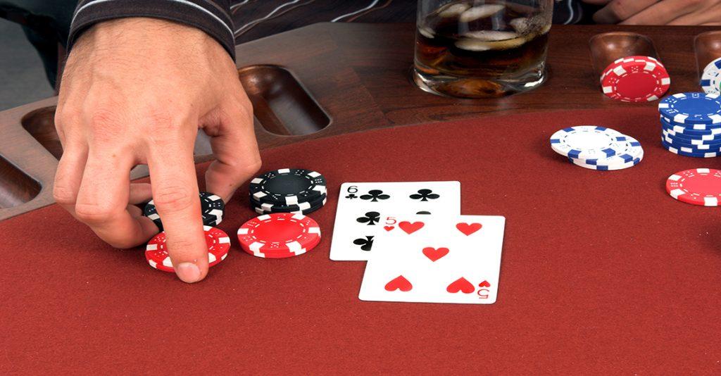 man doubles down in blackjack