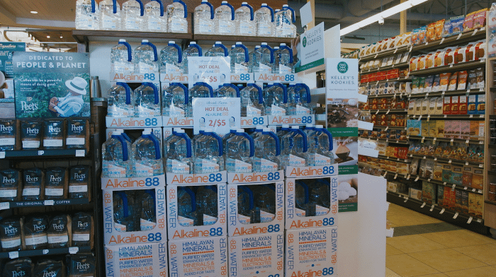 Alkaline88 on the shelves in supermarket in California