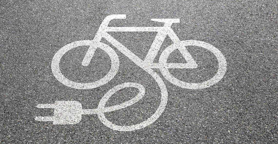 sidewalk painting of an e-bike