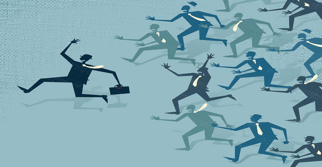 businessman runs far ahead of competitors