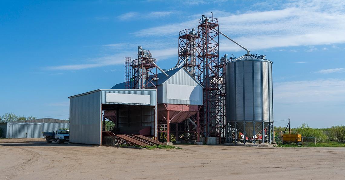 processing facility on a prairie farm