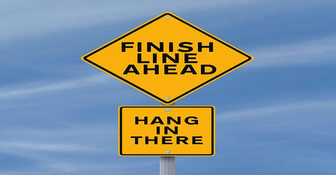 finish line ahead traffic sign