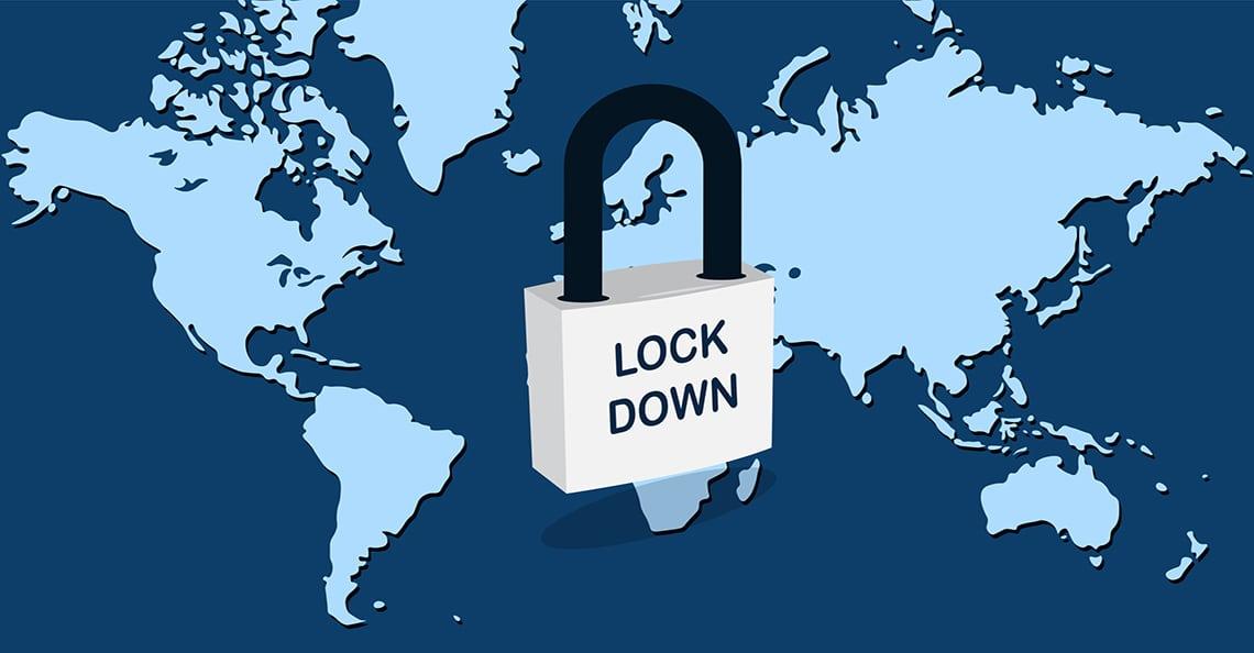 map of a global lockdown