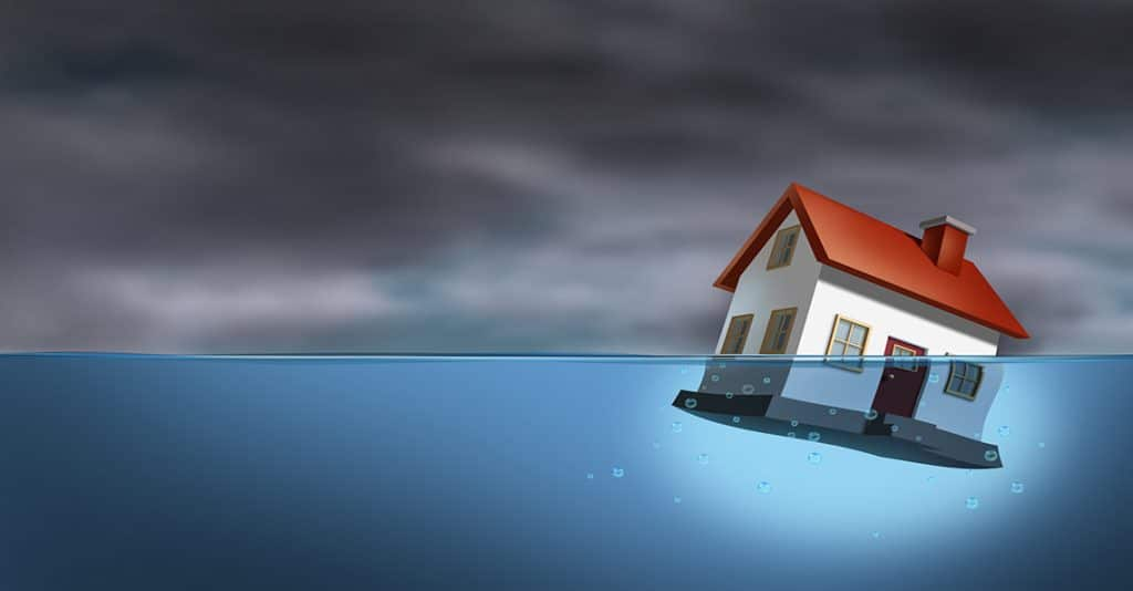 household under water with debt