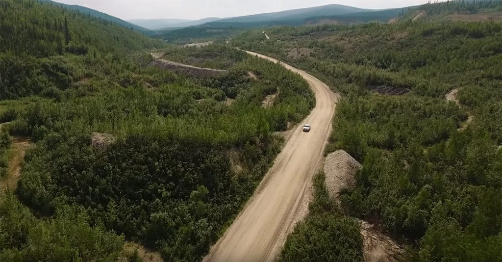 aerial view of road to klondike gold's yukon property