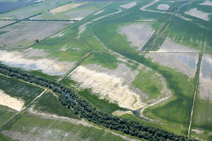 An aerial view of degrading farm land.