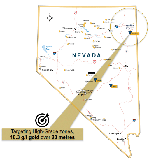 Map of Nevada with Kinsley Mountain