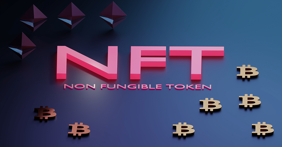 non-fungible token on blue background
