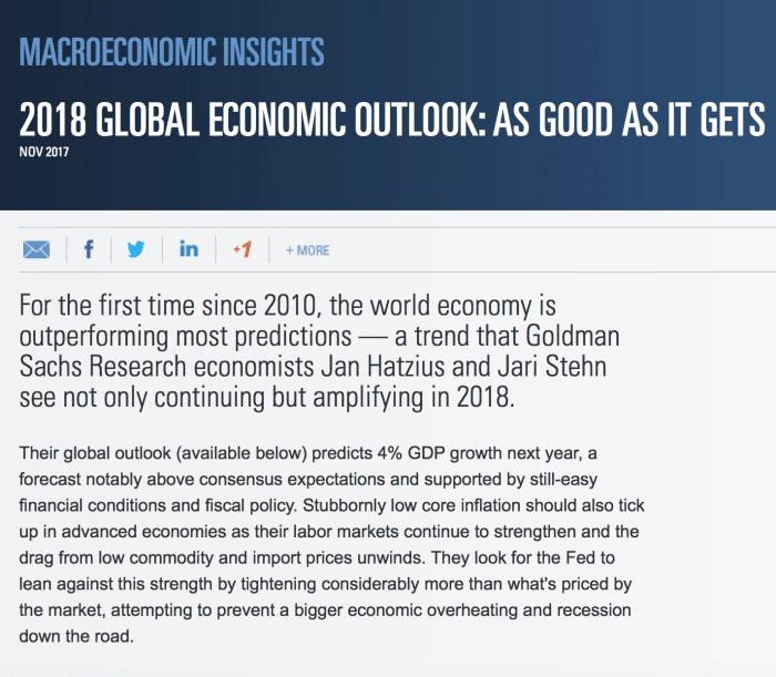 Goldman Sachs 2018 outlook
