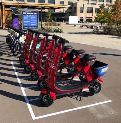 Lineup of V2 OjO scooters in Memphis