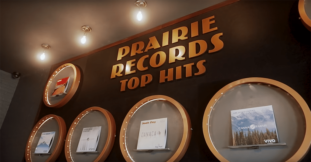 prairie records store top hits wall