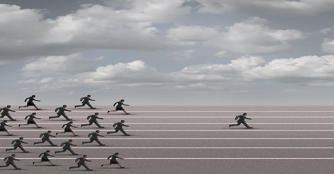 man winning the race