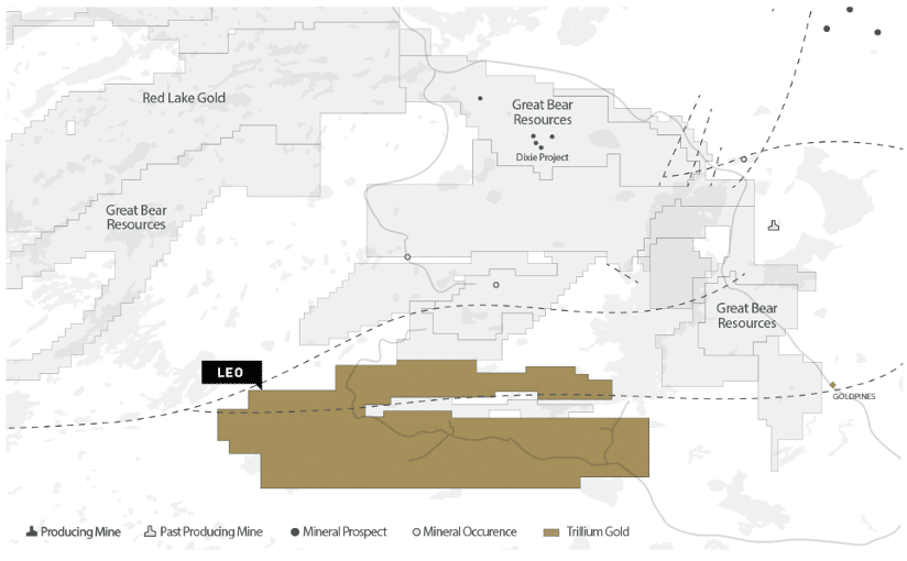 Map of Trillium Gold's Leo Project