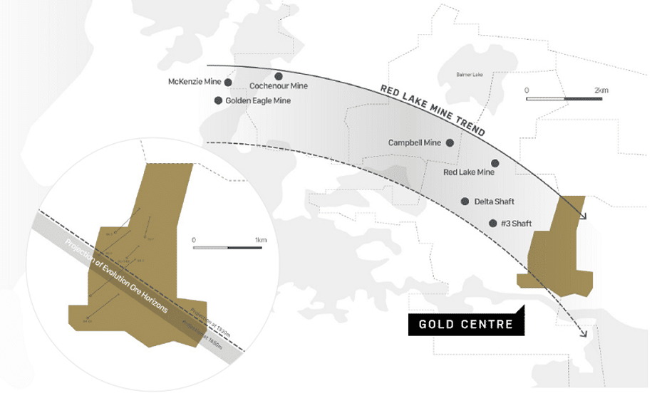 Map of Trillium Gold's Gold Centre project