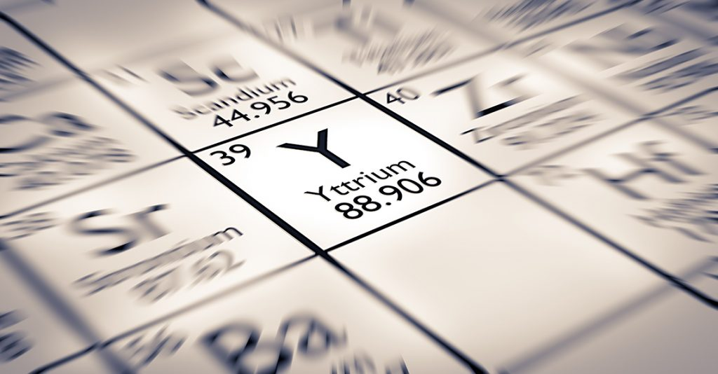 periodic table of the rare-earth metal Ytrrium