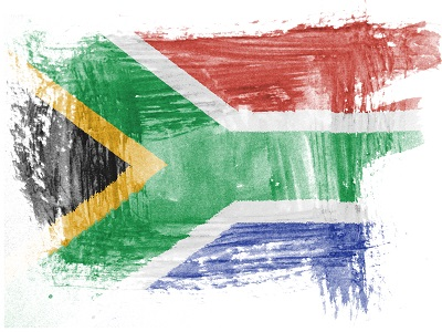 South African flag painted with watercolor on paper