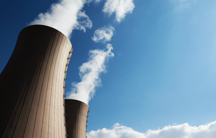 Nuclear power plant cooling towers.