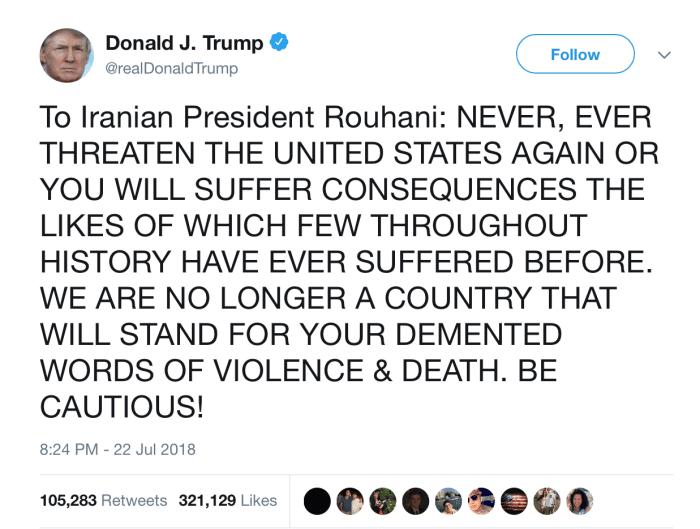 Donald Trump threatens Iran's leadership on Twitter