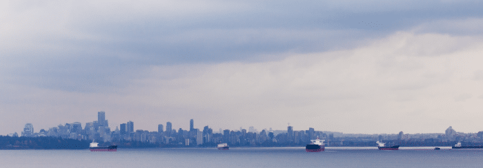 Oil tankers in Vancouver harbour