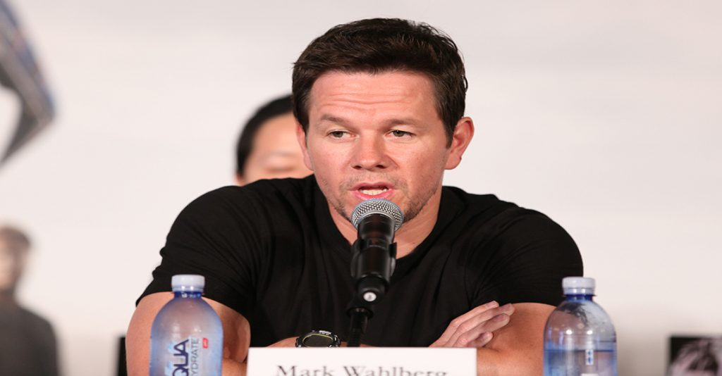 mark wahlberg with aquahydrate bottled water